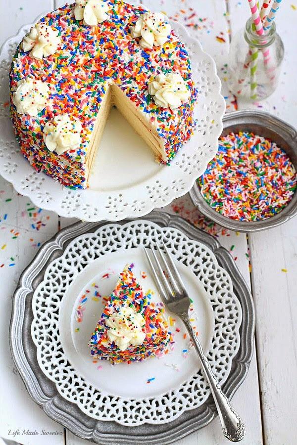 My favorite Vanilla Birthday Cake with Vanilla Bean Frosting by --- @LifeMadeSweeter.jpg