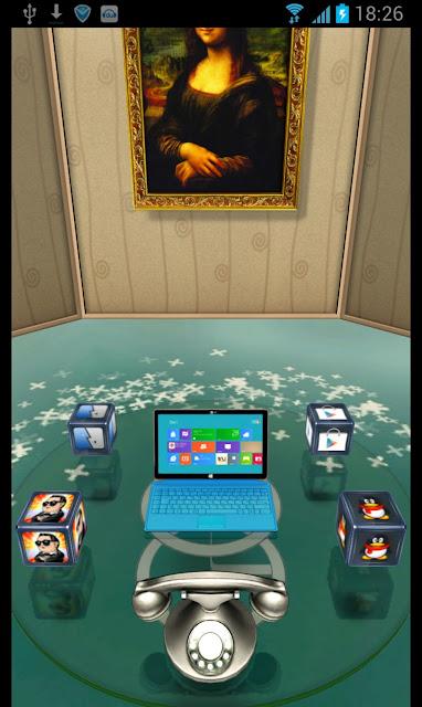3D Home convierte tu pantalla de inicio en una habitación. Todo lo que utilizas en tu teléfono se convierte en un objeto en esta sala una recreación digital de un elemento del mundo real. Claramente y lo mejor es que es gratis. Usted consigue todo en casa 3D por pasar al igual que en otros lanzadores. Si desea ver un video, sólo tiene que utilizar el televisor en la pared. Apps? Pulse en el equipo de Windows 8 en la mesa. También en la mesa es una cámara para abrir la cámara, un buzón de correo para acceder a tu