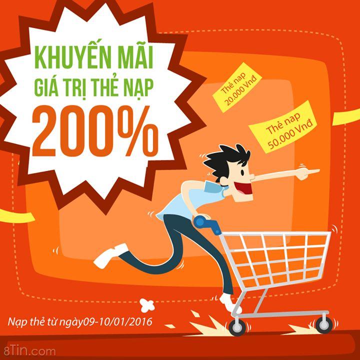 [ KHUYẾN MÃI 200% ] Tặng ngay 200% giá trị thẻ nạp