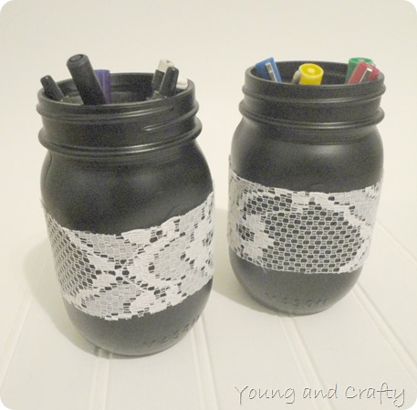 Young and Crafty Sisters: Mason Jar Pen Holder