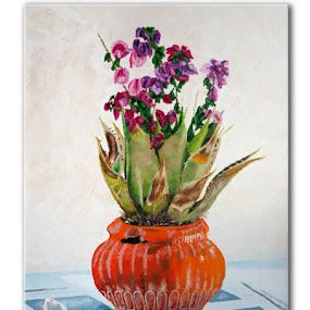 Pot de fleurs, Santorini  by Jonguy Demontigny - Painting All Painting