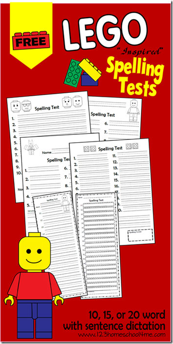 FREE Lego Spelling Tests for Kids from 123 Homeschool 4 Me