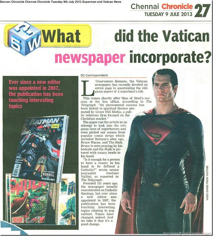 Deccan Chronicle Chennai Chronicle Tuesday 9th July 2013 Superman and Vatican News