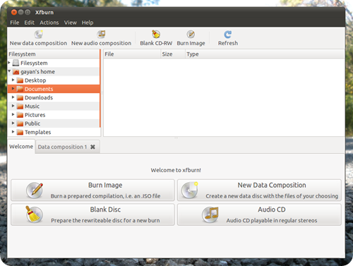 xfburn in ubuntu 11.04 screenshot