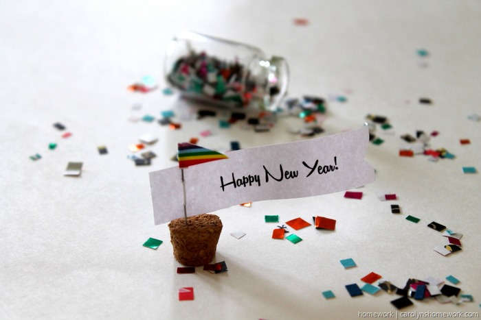 New Year's Confetti Bottles via homework ~ carolynshomework.com