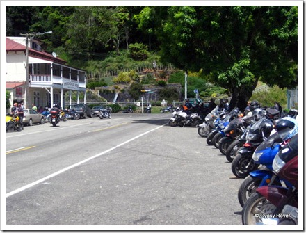 Motorcycles on the Chateau to Plateau arriving at Whangamomona.