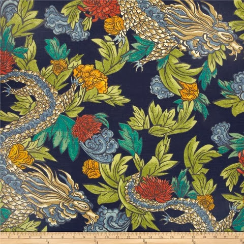 Ming Dragon fabric in admiral