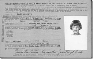 杰米李柯蒂斯'S 1961 Barazilian入境卡