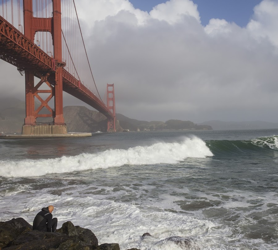 waves breaking under Golden Gate Bridge by Janet Marsh - Landscapes Waterscapes (  )