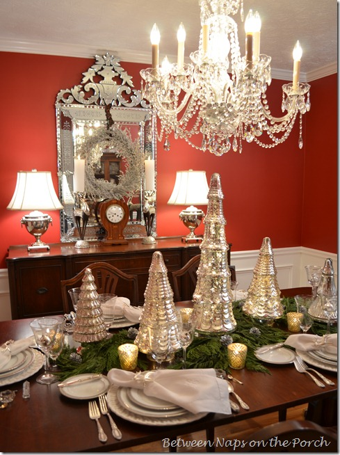 A Mercury-Glass Christmas Tree Table Setting Tablescape