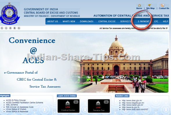 Service tax e-payment login page