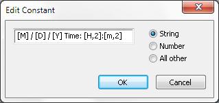 String to define format for dateTime