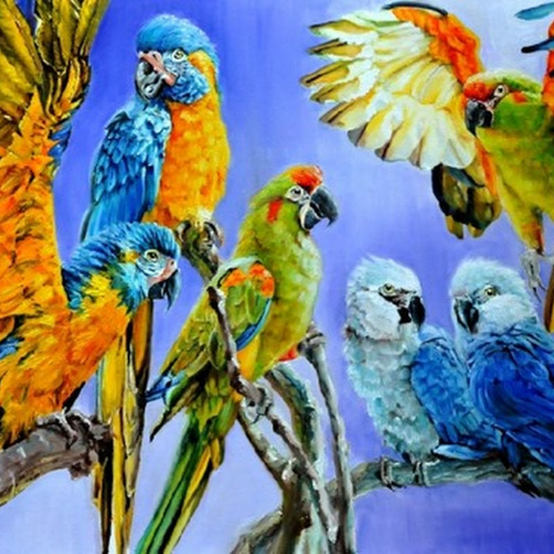 10 Beautiful Paintings of Birds Flying and on Branches