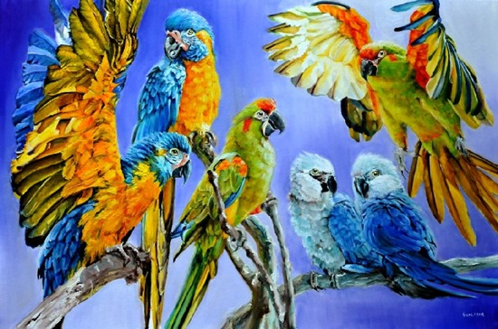 10 Beautiful Paintings of Birds Flying and on Branches ...