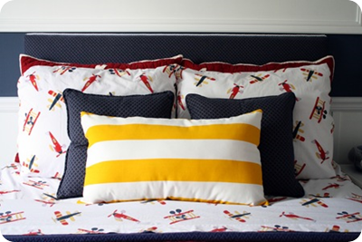 striped ikea fabric pillow
