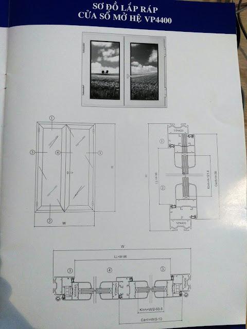 Kết cấu cửa sổ mở quay mở hất hệ 4400-01