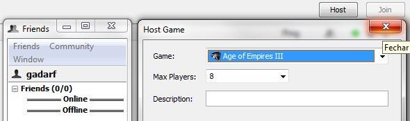 Criação de host no gameranger.