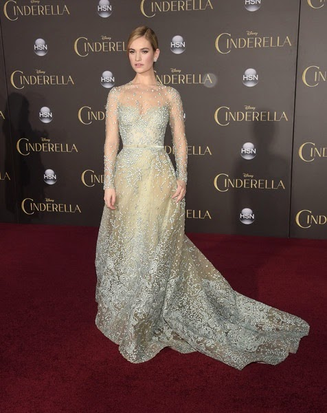 Lily James Cinderella Premieres Hollywood
