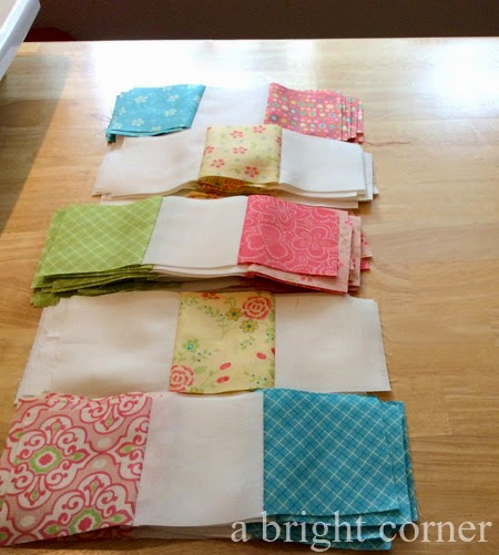Cute flowery Irish Chain quilt from A Bright Corner