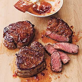 Broiled Tenderloin Steaks with Ginger-Hoisin Glaze.