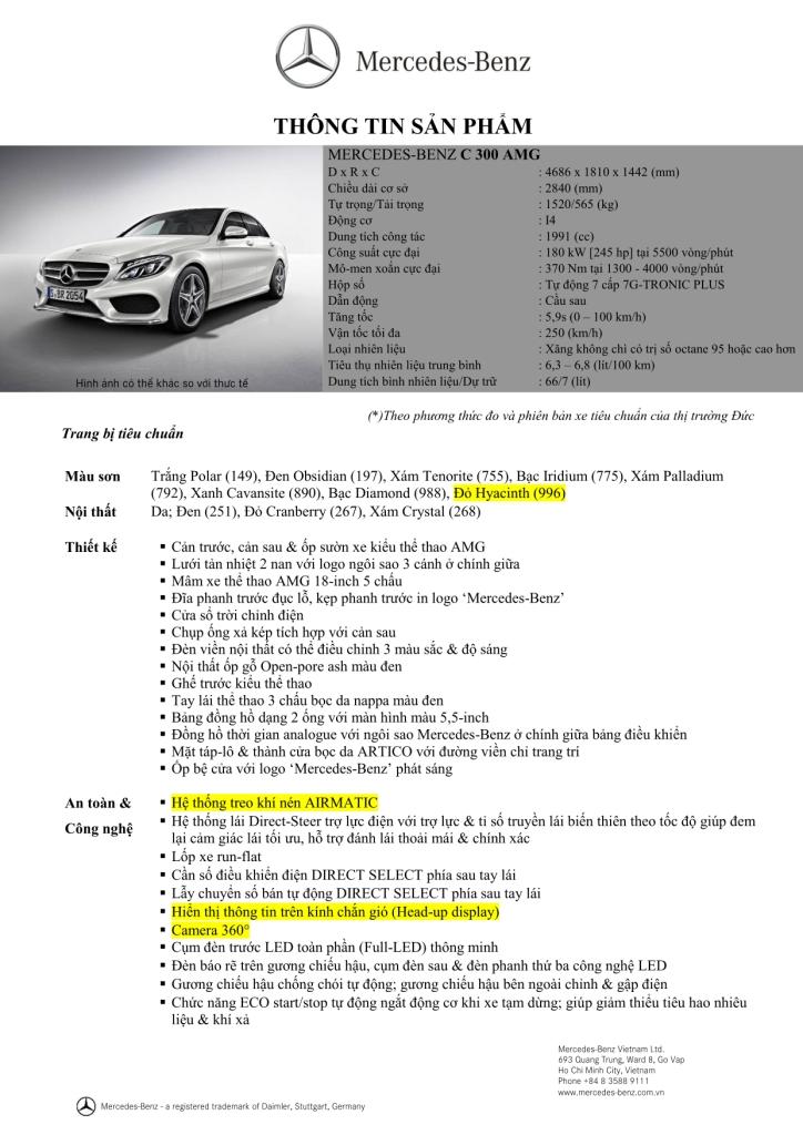 Giá xe Mercedes Benz C300 AMG New Model 010