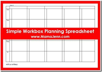 Simple Workbox Planning Spreadsheet