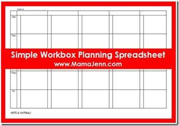 Simple Workbox Planning Spreadsheet