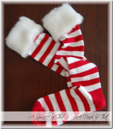 Striped Santa Socks with Furry Cuff {A Sprinkle of This . . . . A Dash of That}