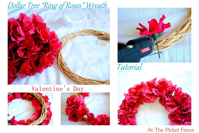 Dollar Tree Valentine S Day Ring Of Roses Wreath At The Picket Fence