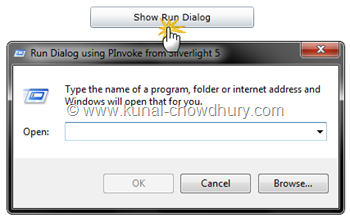 Silverlight 5 RC - PInvoke Demo - Calling Run Dialog from Browser