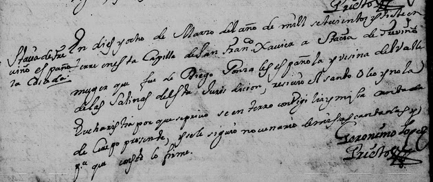 Anastacia de Trevino, Death, Familysearch, Monterrey, 1707 pg 84.jpg