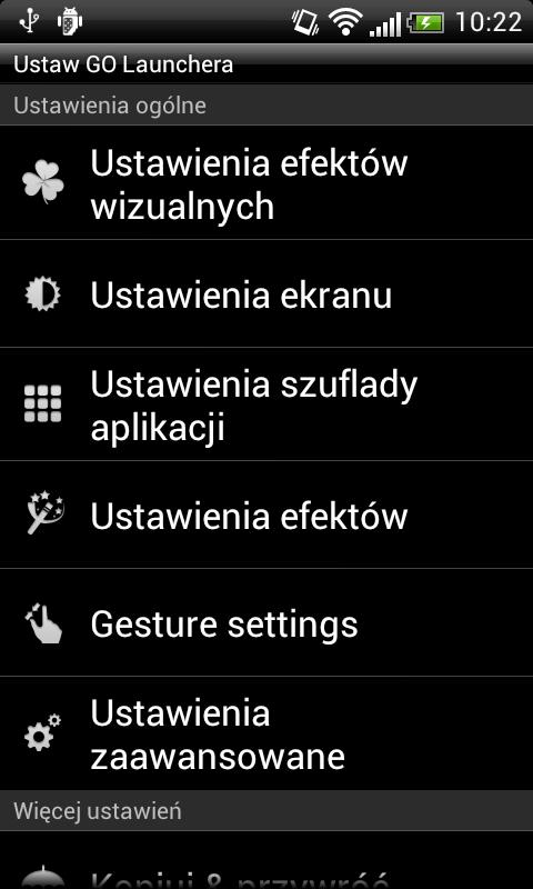 GO LauncherEX Polish language - screenshot