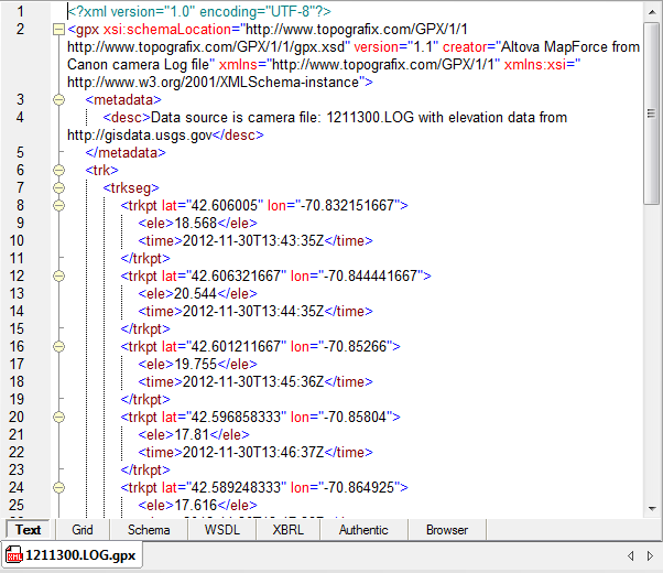 XML file created by MapForce Server job step