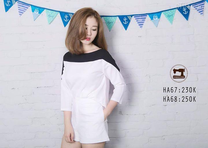 + Mẫu áo trắng phối đen cổ thuyền hàng may của shop