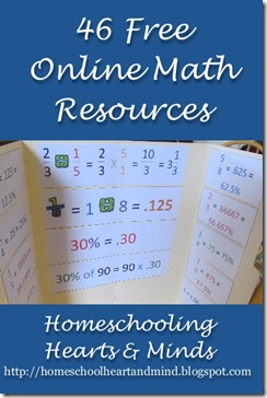 46 free math resources http://homeschoolheartandmind.blogspot.com