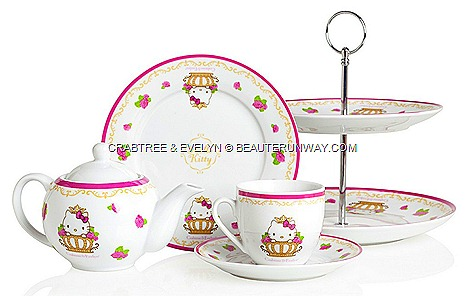 CRABTREE & EVELYN HELLO KITTY TEA SETS SUMMER 2012 LIMITED EDITION tea sets, tea cups and saucers, small plates, tea pot two-tier cake stand Rosewater, Lily, Wisteria, Lavender  kitty crown COLLECTION