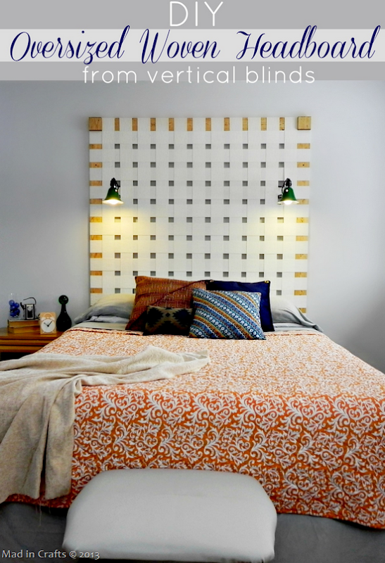 DIY Oversized Woven Headboard from Vertical Blinds