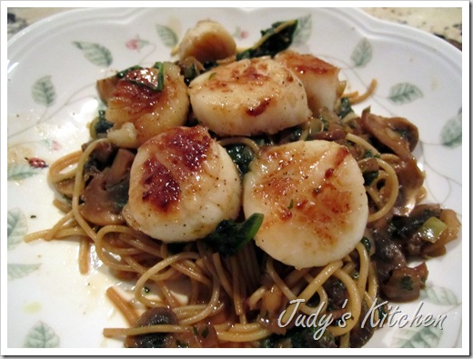Judy S Kitchen Seared Scallops With Pasta Mushrooms And Spinach