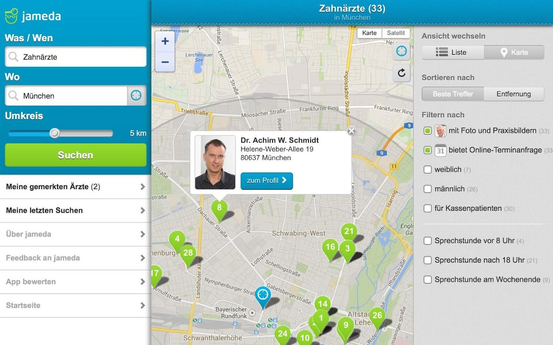 Arztsuche jameda - screenshot