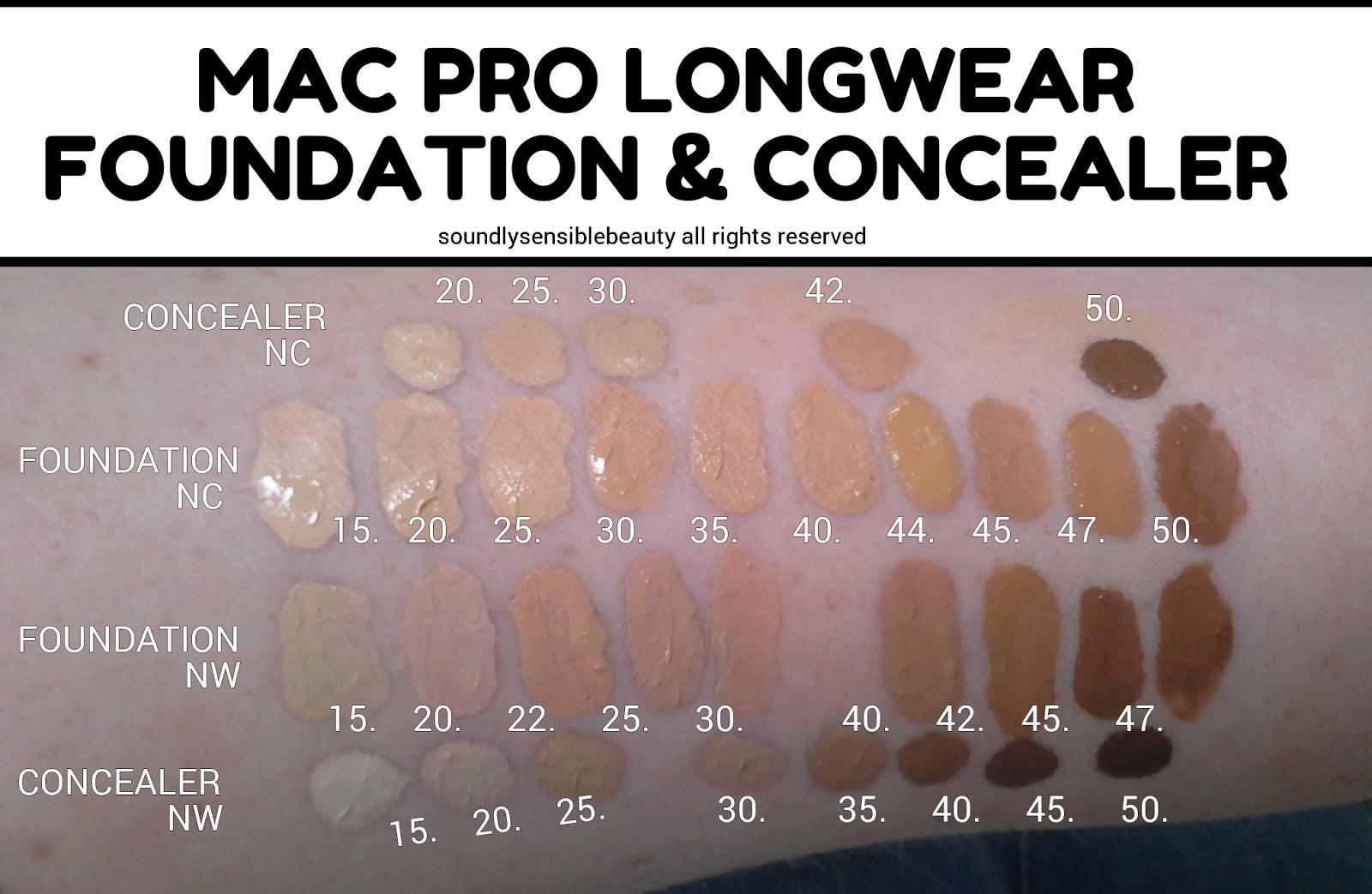 mac pro longwear foundation swatches n18