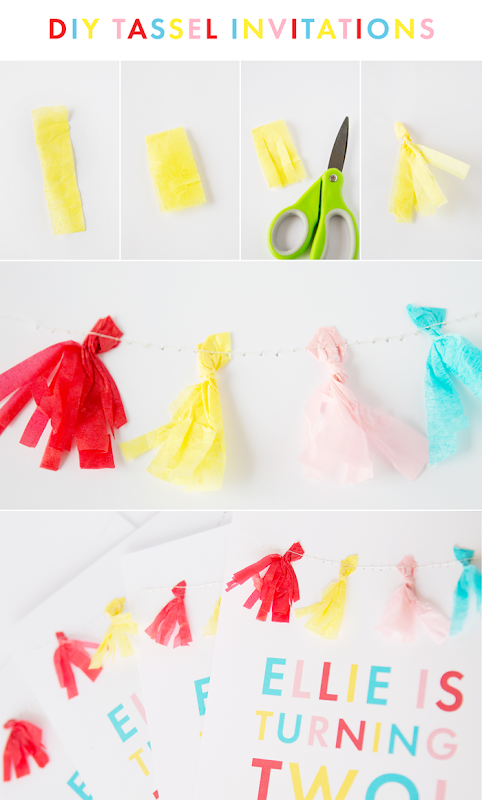 Tissue Paper Tassel Banner - Tassel Banner Invitation, two year old party, colorful birthday party