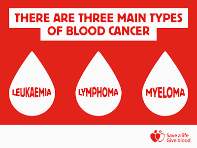 There are three main types of blood cancer leukaemia lymphoma and myeloma