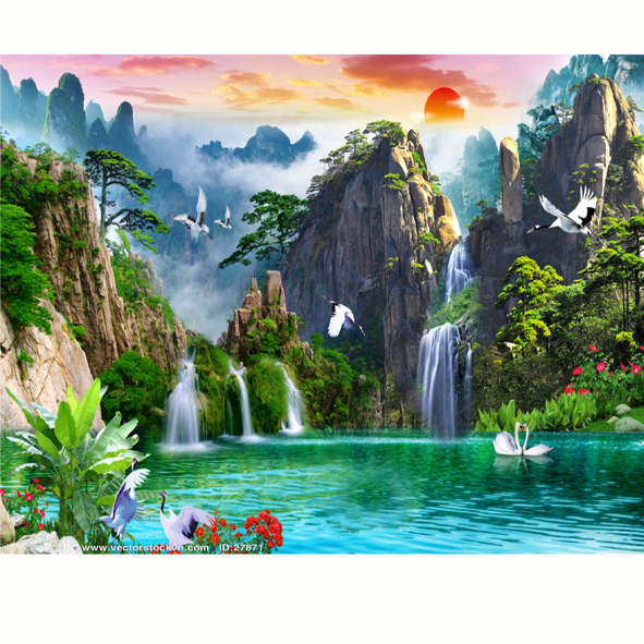 Tranh Dán Tường Phong Cảnh Sông Suối.