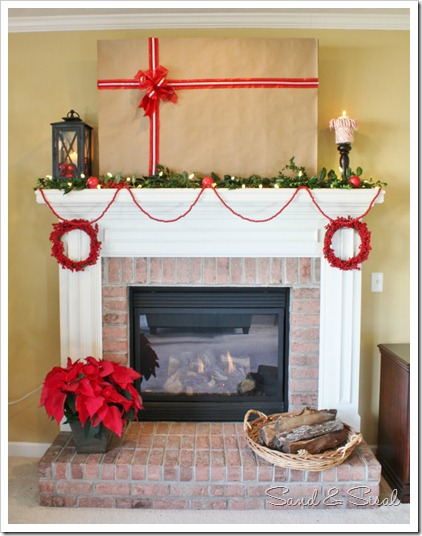 christmas Mantel with TV wrapped as gift