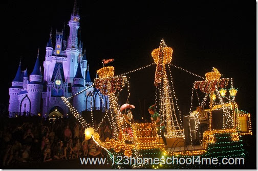 Main Street Electrical Parade is filled with magically lit floats in the Magic Kingdom