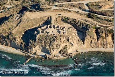 Apollonia Crusader castle aerial from west, tb121704904