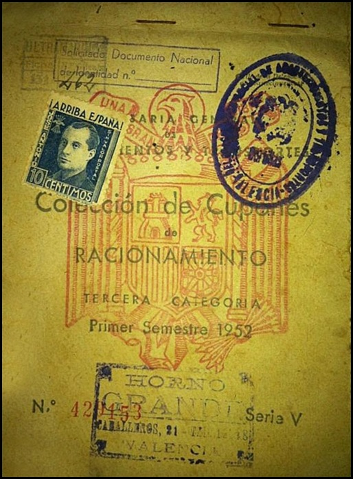 Cartilla Racionamiento 1952