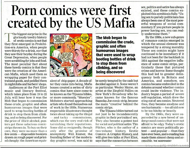 The Times of India Chennai Edition Page 15 Story on the Porn Comics and their link with US Mafia