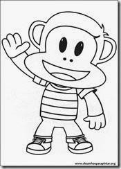 Julius Jr desenhos para pintar imprimir e colorir do simpático macaquinho do Discover Kids