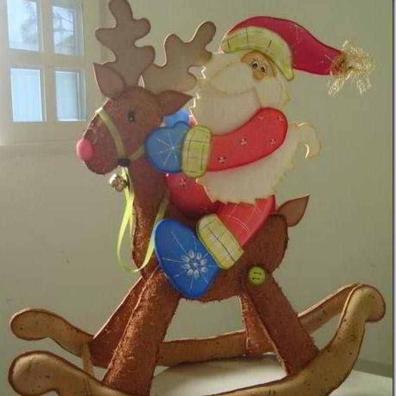 Manualidades Reno con Santa Claus en Goma Eva